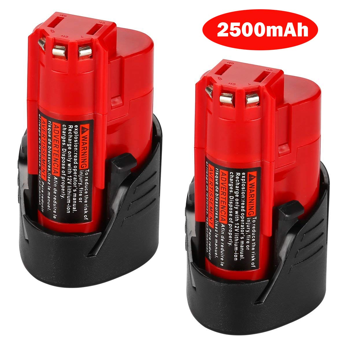 Keepower M12 Battery 2 Pack 12V 2500mAh Lithium-ion Replacement Battery for Milwaukee M12 Milwaukee 48-11-2411 REDLITHIUM 12-Volt Cordless Milwaukee Tools Milwaukee 12V Battery Lithium-ion by Keepower (Image #1)