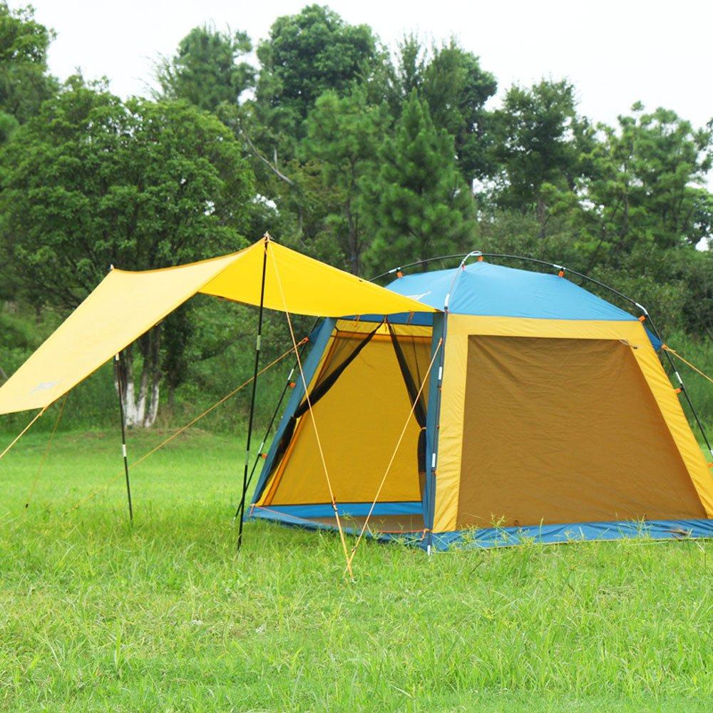 MUTANG Outdoor Camping Zelt Outdoor 3-4 Familie Wasserdicht Schatten Strand Liebhaber Tourist Zelt Outdoor Camping Zelt Wasserdicht Strand Visor Doppel Vier Jahreszeiten Zelt (Farbe : Gelb)