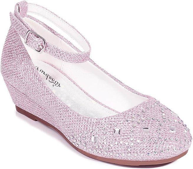 Amazon Com Furdeour Girls Glitter Wedge Dress Shoes Wedding