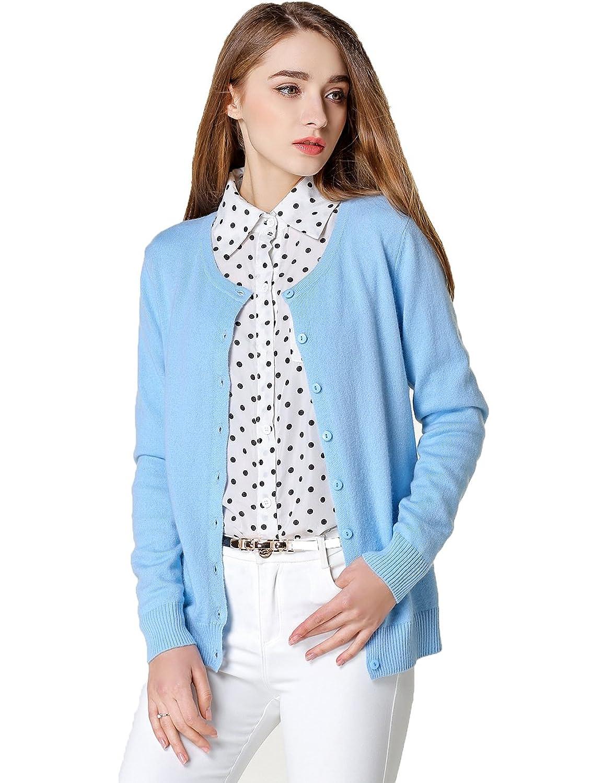 Xiouli Women's Crewneck Long Sleeve Wool Cardigan Sweater hy003
