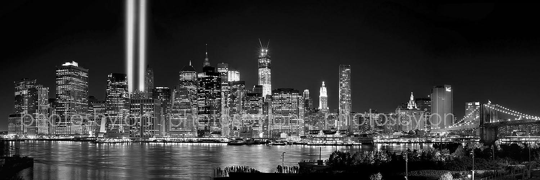 Amazon.com: New York City NYC Skyline PHOTO PRINT UNFRAMED Tribute Lights  NIGHT Lower Manhattan Downtown BW Black U0026 White 11.75 Inches X 36 Inches ...