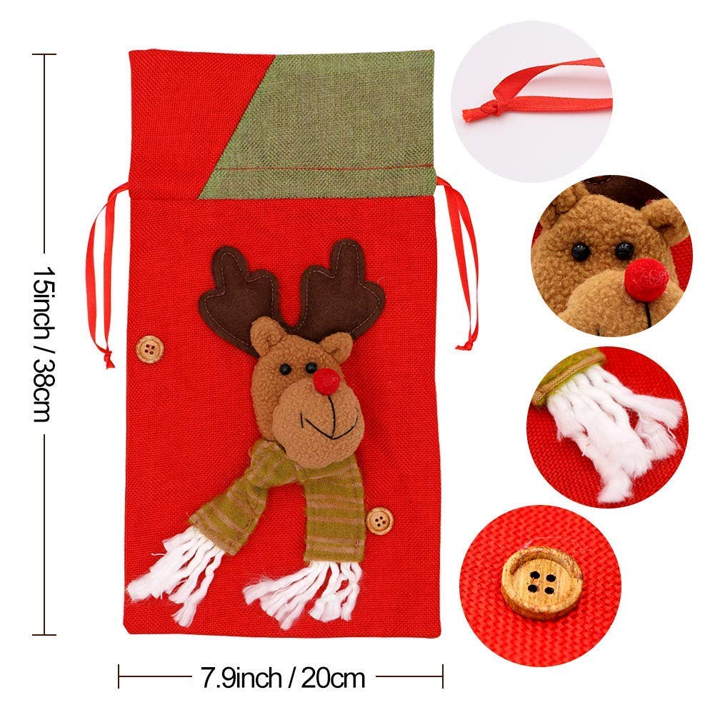6 Pack Christmas Bags,Locase Christmas Drawstring Gift Bags for Holiday Christmas Tress Decorations Snata,Elk,Snowman Christmas Cookie Bags Drawstring Bags for Candies or Decoration 15x8inch by Loacse