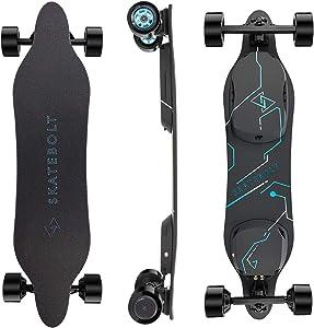SKATEBOLT Electric Skateboard Breeze II Electric Longboard 28 MPH Top speed, 15 Miles Range, Dual 350 W Motors, 30% Climbing Capacity, Glassfiber & Bamboo Deck Electronic Longboard with Remote Control