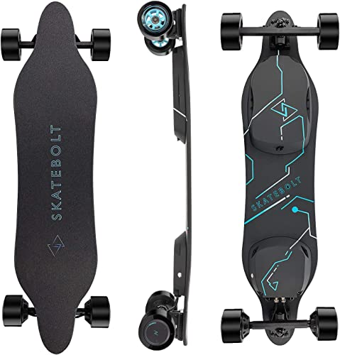SKATEBOLT Electric Skateboard Breeze II Electric Longboard 28 MPH Top speed, 15 Miles Range, Dual 350 W Motors, 30 Climbing Capacity, Glassfiber Bamboo Deck Electronic Longboard with Remote Control