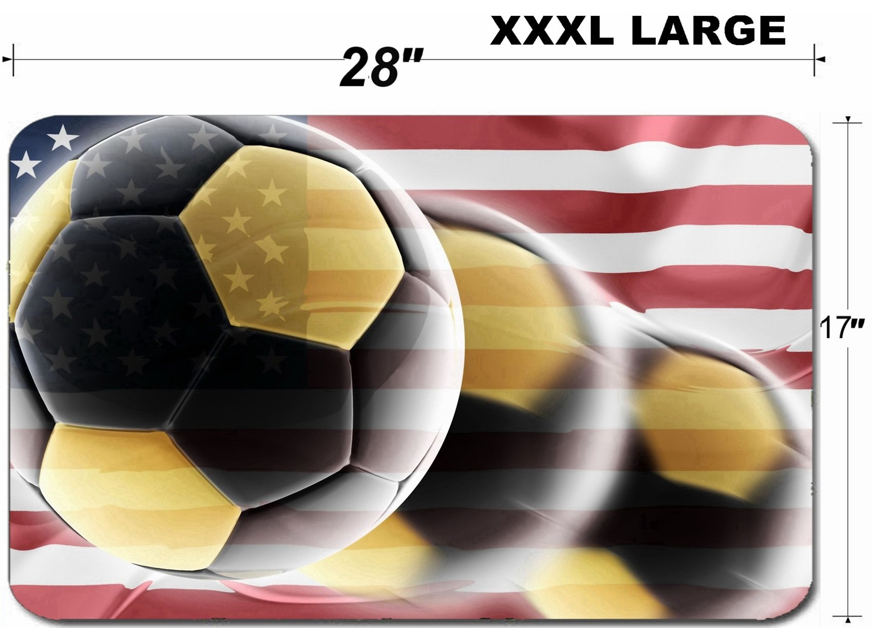 Luxlady Large Table Mat Non-Slip Natural Rubber Desk Pads Flag of United States of America national country symbol illustration wavy sports soccer fo