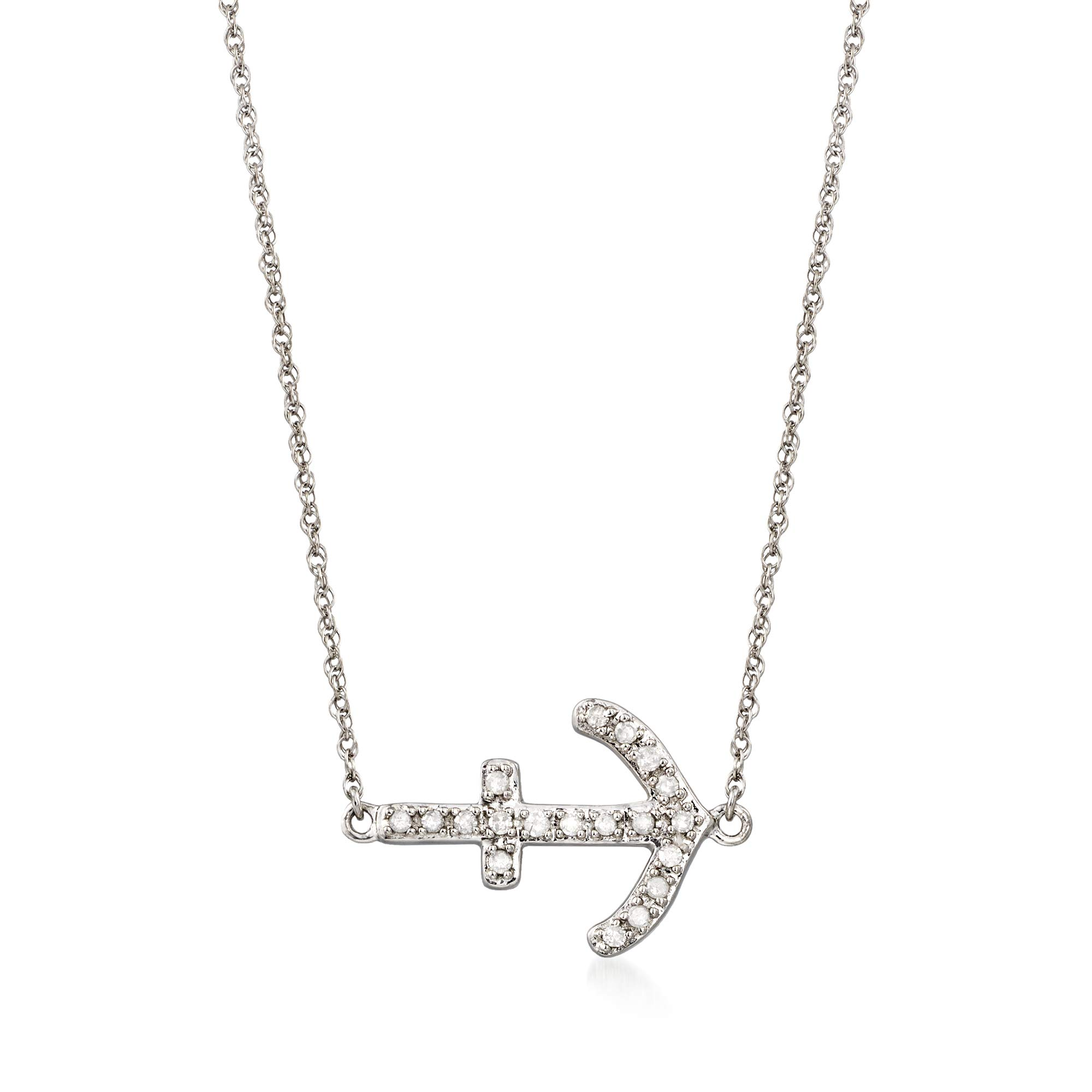 Ross-Simons 0.15 ct. t.w. Diamond Sideways Anchor Necklace in Sterling Silver by Ross-Simons
