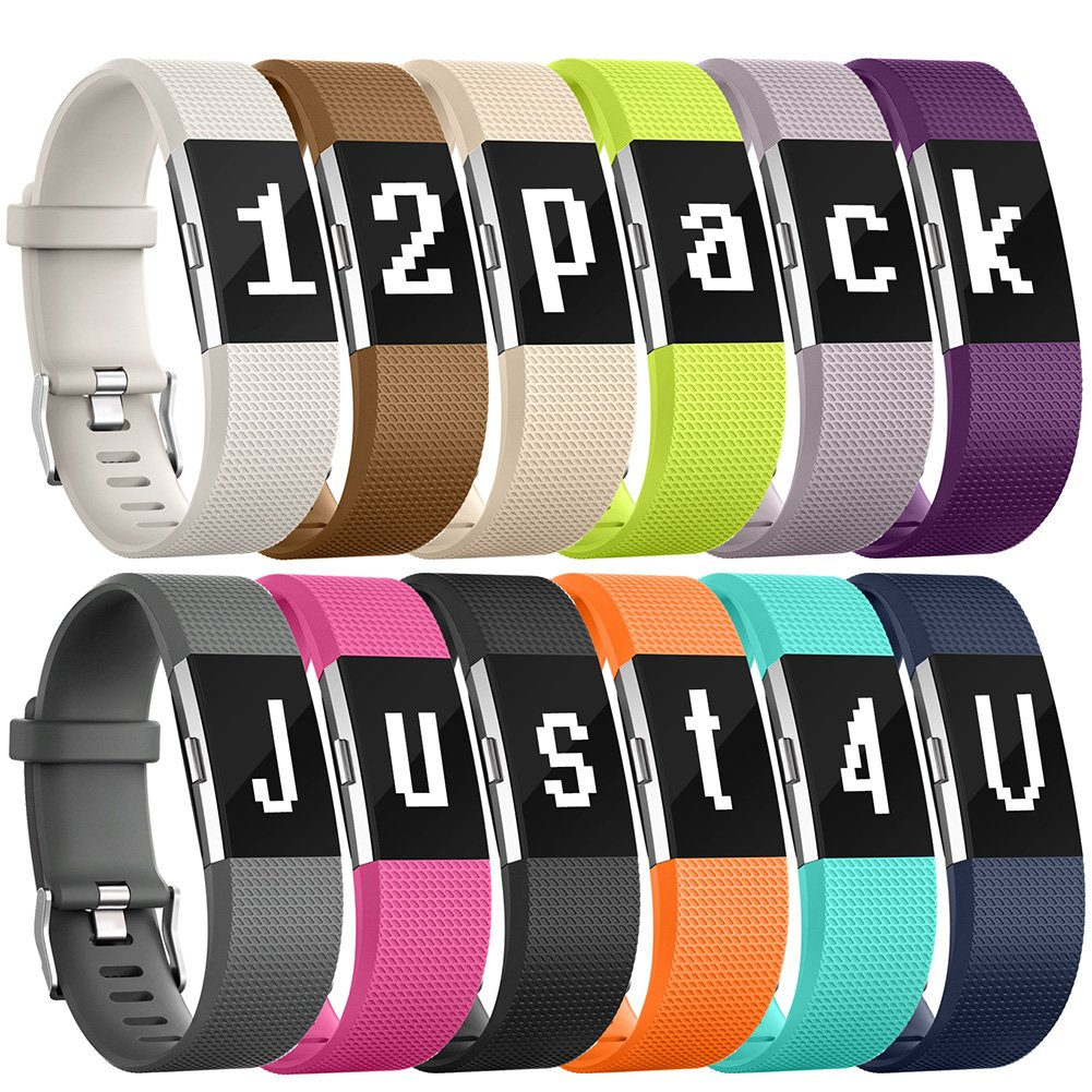 Fitbit charge 2 Bands, 12 Color Replacement Bands for Fitbit Charge 2 HR Wristband (Small, Pack, Buckle), Special Edition Fitbit Charge 2 Fitness Sport Strap For Women Men Gifts