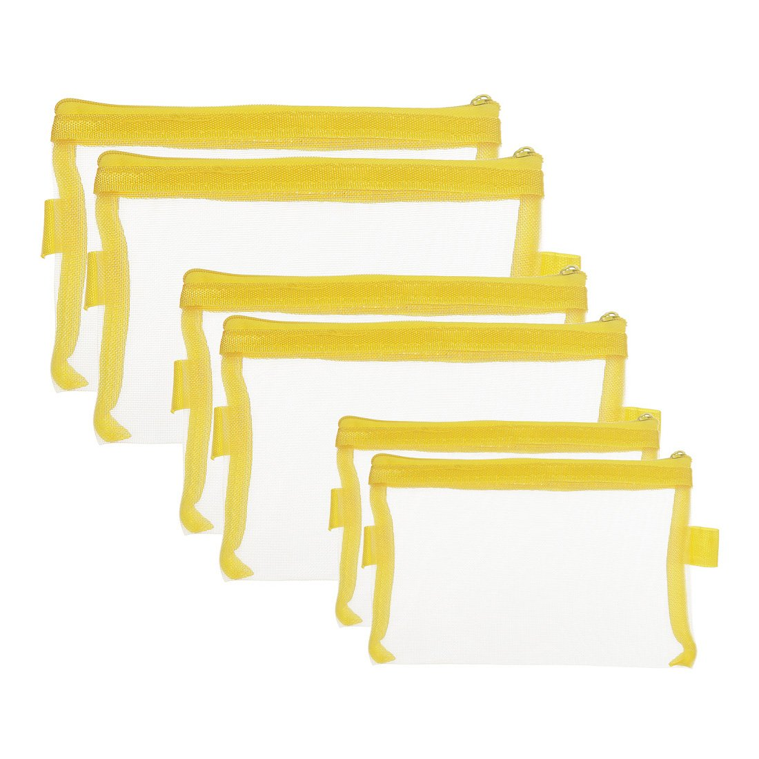 HYFAN Zipper File Envelope Folder Bag Breathable Transparent Mesh Document Pocket A4 A5 A6 Paper Pouch Storage for Office School Supplies ( PVC, Yellow, 3 sizes, Pack of 6 )
