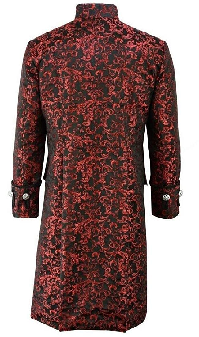 Sweetmini Hommes Goth Steampunk Outwear Simple Bouton Trench Manteau Mi-Long Rouge.