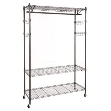 Amazon.com: Wire Shelving Unit with Hanging Rods and Adjustable ...