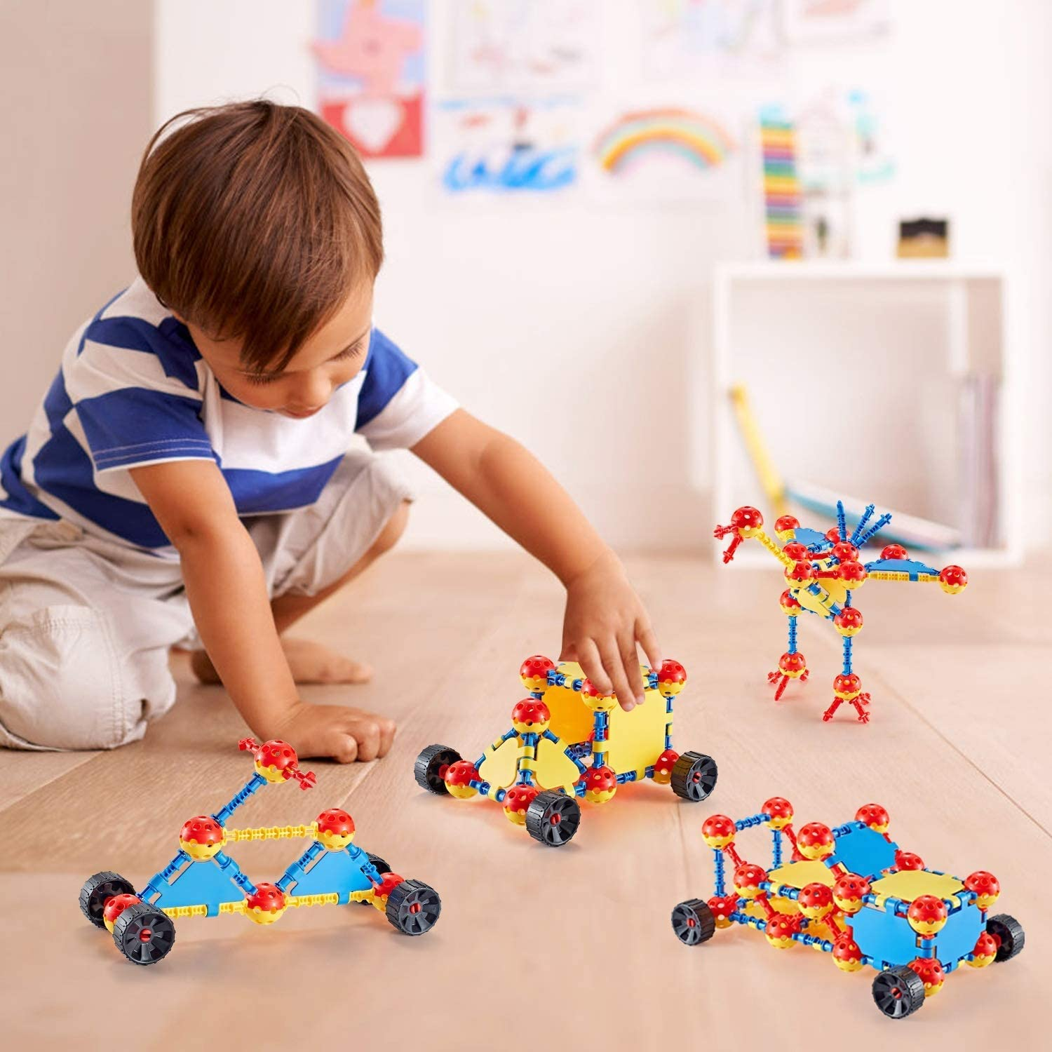 168 Pcs Creative Construction Engineering Educational Building Toy Set Fun Top Blocks Game Kit for Boys and Girls Age 3 4 5 6 7 8 9 10 Year Old Gift for Kids STEM Learning Construction Building Toys