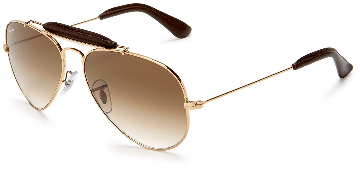 753cba0619 Amazon.com  Ray-Ban AVIATOR CRAFT - ARISTA BROWN LEATHER Frame CRYSTAL BROWN  GRADIENT Lenses 55mm Non-Polarized  Ray-Ban  Clothing