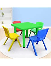 Kid's Adjustable Mixed Square Table with 4 Chairs Set With Green Table
