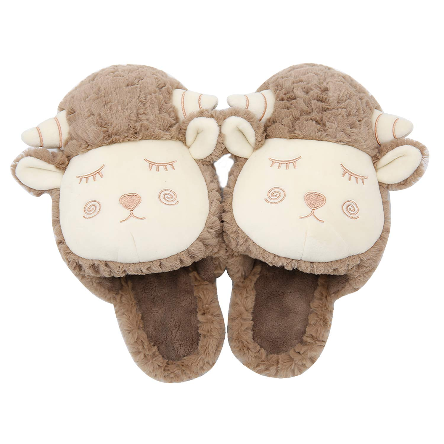 5a9e106e3867 Women s Cute Fuzzy House Slippers - Memory Foam Sheep Slippers Anti Slip  Comfort Plush Slippers Soft Indoor Clog House Shoes