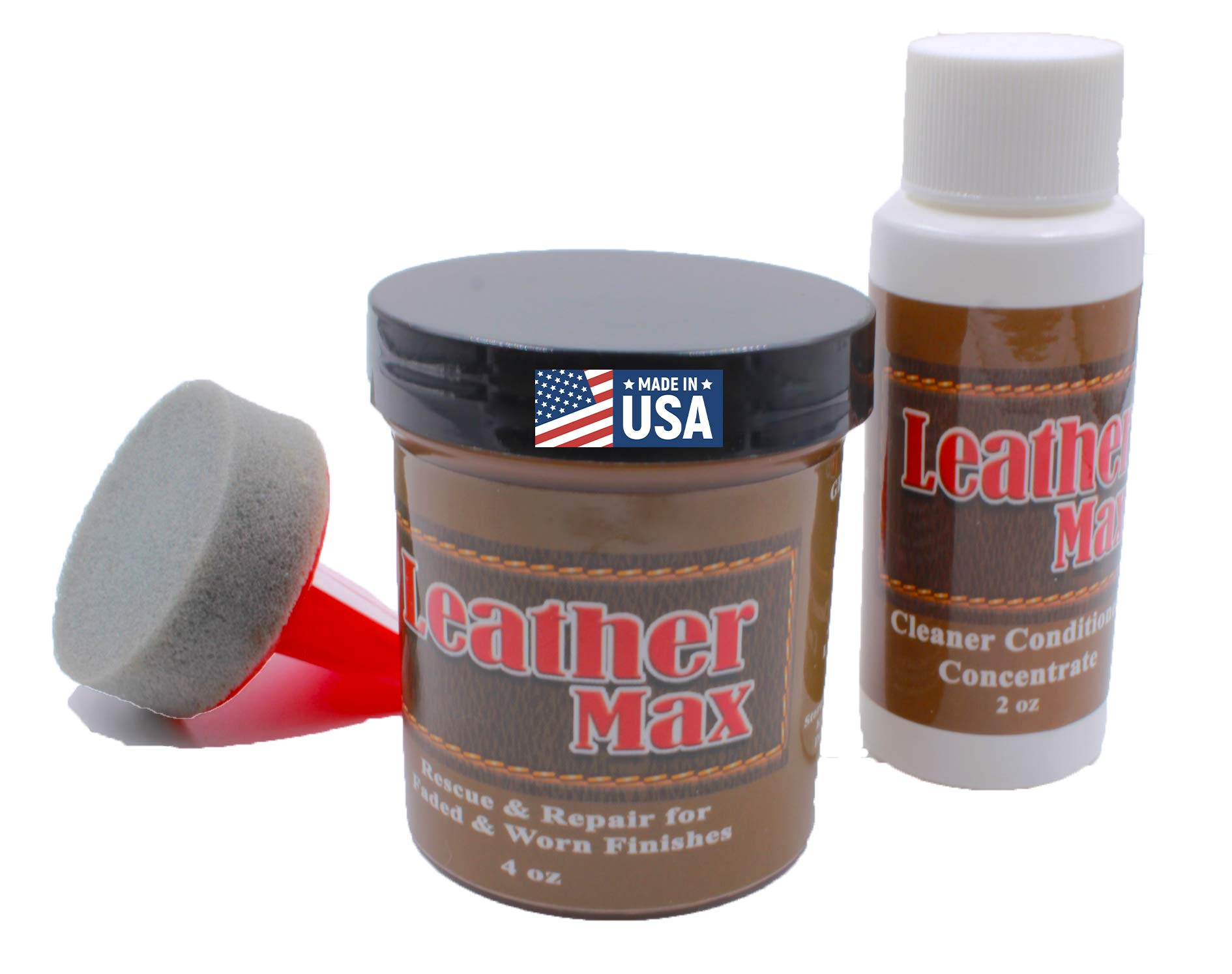 Furniture Leather Max Refinish and Restorer Kit / 4 Oz Restorer / 2 Oz Conditioner / 1 Sponge (Leather Repair) (Vinyl Repair) (Dark Brown) by Leather Furniture Refinish and Repair (Image #1)