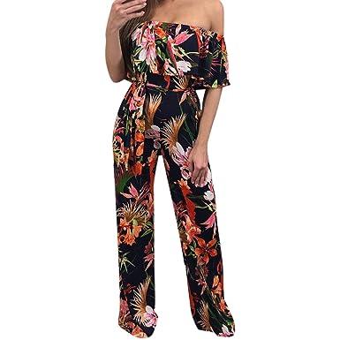 80d6c146ff95e Petalum Combinaison Femme Maxi Sexy Col Bateau Imprimé Floral Slim Ceinture  Pantalon Long Eté 2018