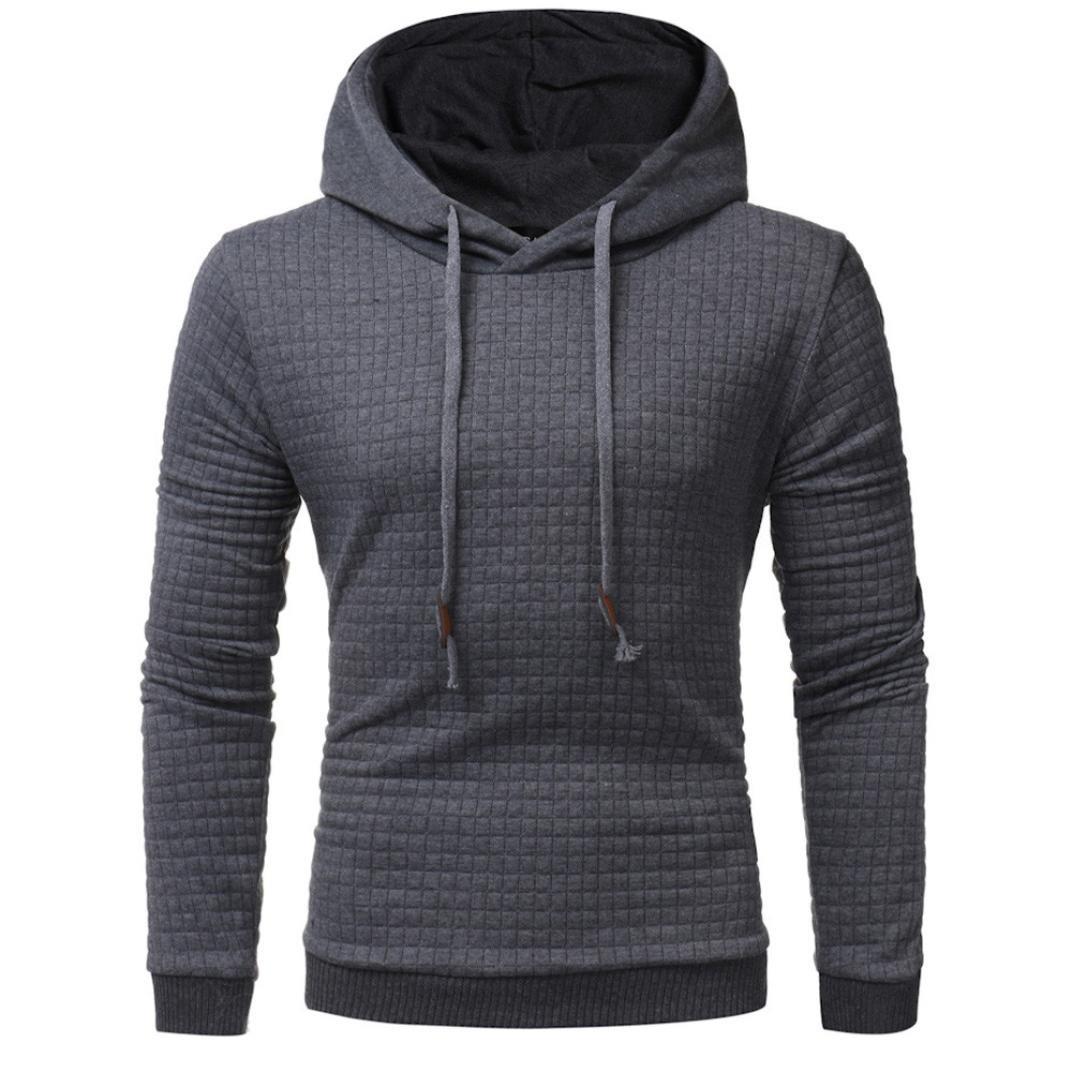 Men Casual Sweatshirt, SINMA Fall Solid Grid Drawnstring Hooded Pullover Cozy Blouse (L, Dark Gray)