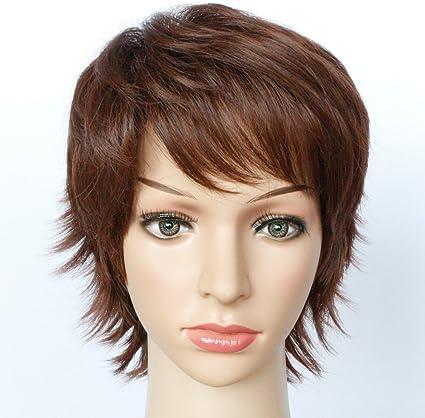 Kolight - Peluca de pelo corto y rizado, color marrón, 9.5 ...