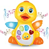 Light Up Dancing and Singing Duck Toy – Infant, Baby and Toddler Musical and Educational Toy - Walks, Glides and Flaps Wings - 6 Songs, Speaking and Sound Effect Modes - by ToyThrill
