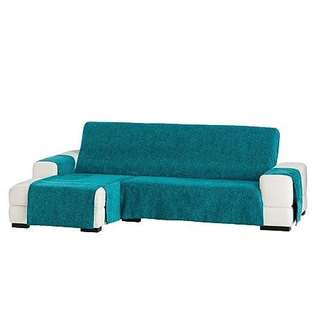 Jarrous Funda Cubre Chaise Longue Modelo Love, Color Azul Turquesa (C/03), Medida Extra (290cm), con Brazo Izquierdo (Mirándolo de Frente)
