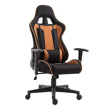 Homcom Silla de gaming con ruedas giratoria reclinable Oficina Tela: Amazon.es: Oficina y papelería