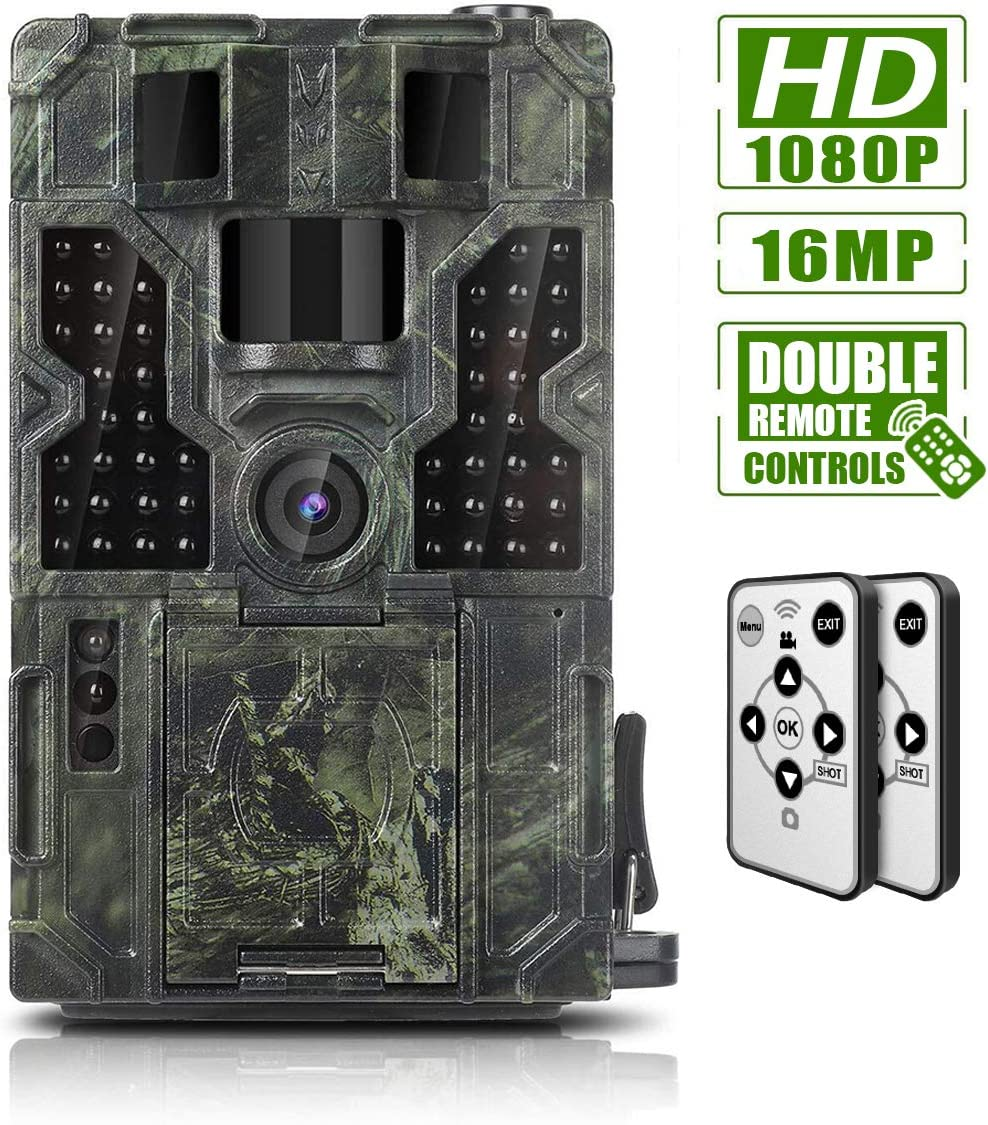 Trail Game Camera 16MP 1080P Waterproof Hunting Scouting Cam Wildlife Monitoring 130 Detection with 0.2s Trigger Speed 2.4 LCD IR LEDs IP55 Waterproof Design