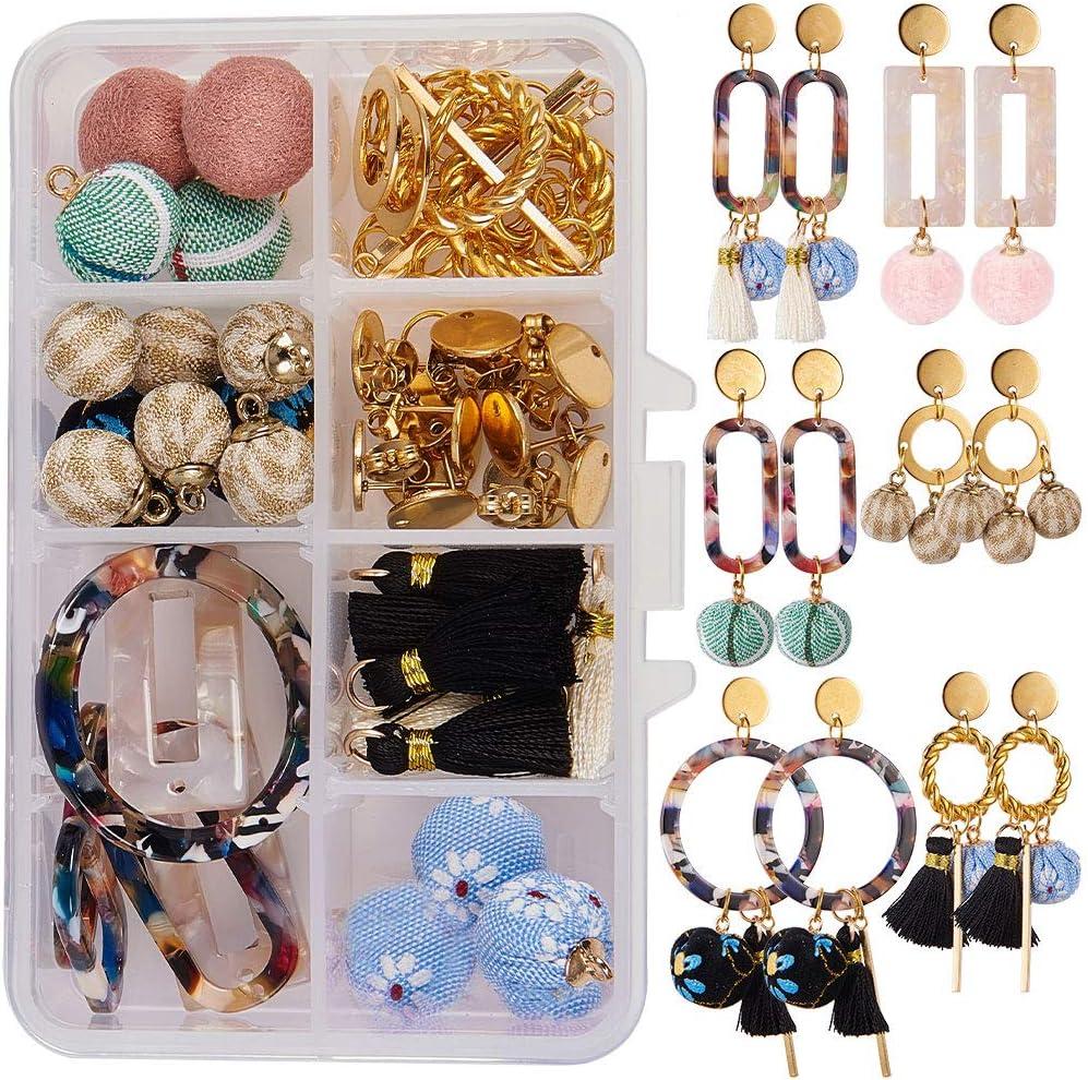 6 Fabric Covered Round Handmade Beads Earring  Bead Charms