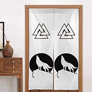 XSWYGBGH Howling Wolf Moon Door Curtains for Home Decor Straight Japanese Door Curtain
