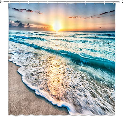 Amazon Com Xzman Tropical Ocean Beach Shower Curtain Wave Sea