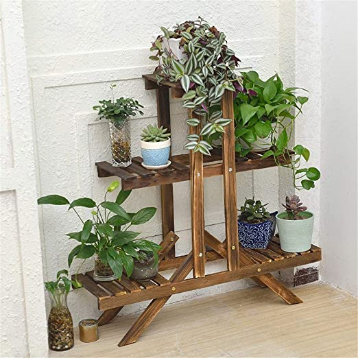 Soporte Plantas Soporte de planta de 3 niveles Soporte de flor de madera Escalera Estante Estante de macetas al aire libre for interiores Patio for el patio Jardín Patio Balcón Para uso