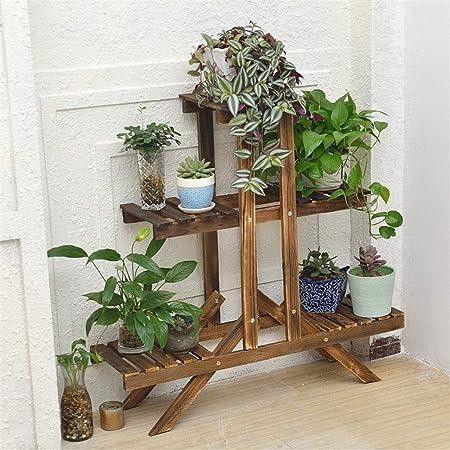 Soporte Plantas Soporte de planta de 3 niveles Soporte de flor de madera Escalera Estante Estante