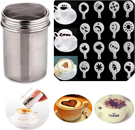Stainless Steel Chocolate Shaker Duster 16x Cappuccino Barista Stencil CO LDHFUK