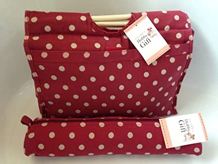 Knitting Bags Sewing Bags Burgundy Spot Wooden Handled Bag And