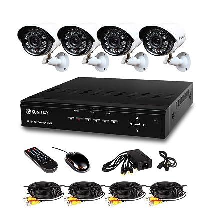 Sunluxy - Juego de cámaras de seguridad de circuito cerrado (8 piezas, DVR 4