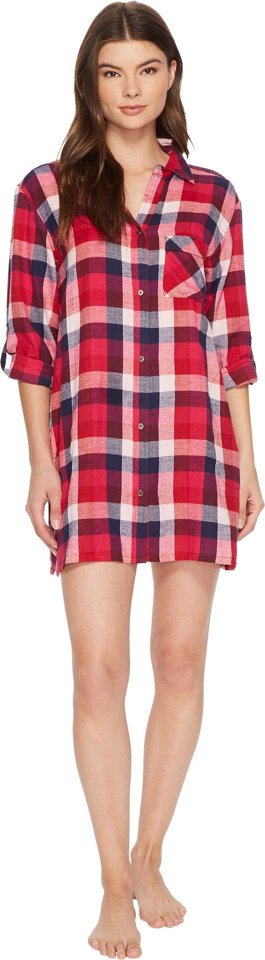 Lucky Brand Women's Flannel Button Down Sleepshirt, Buffalo Plaid, M