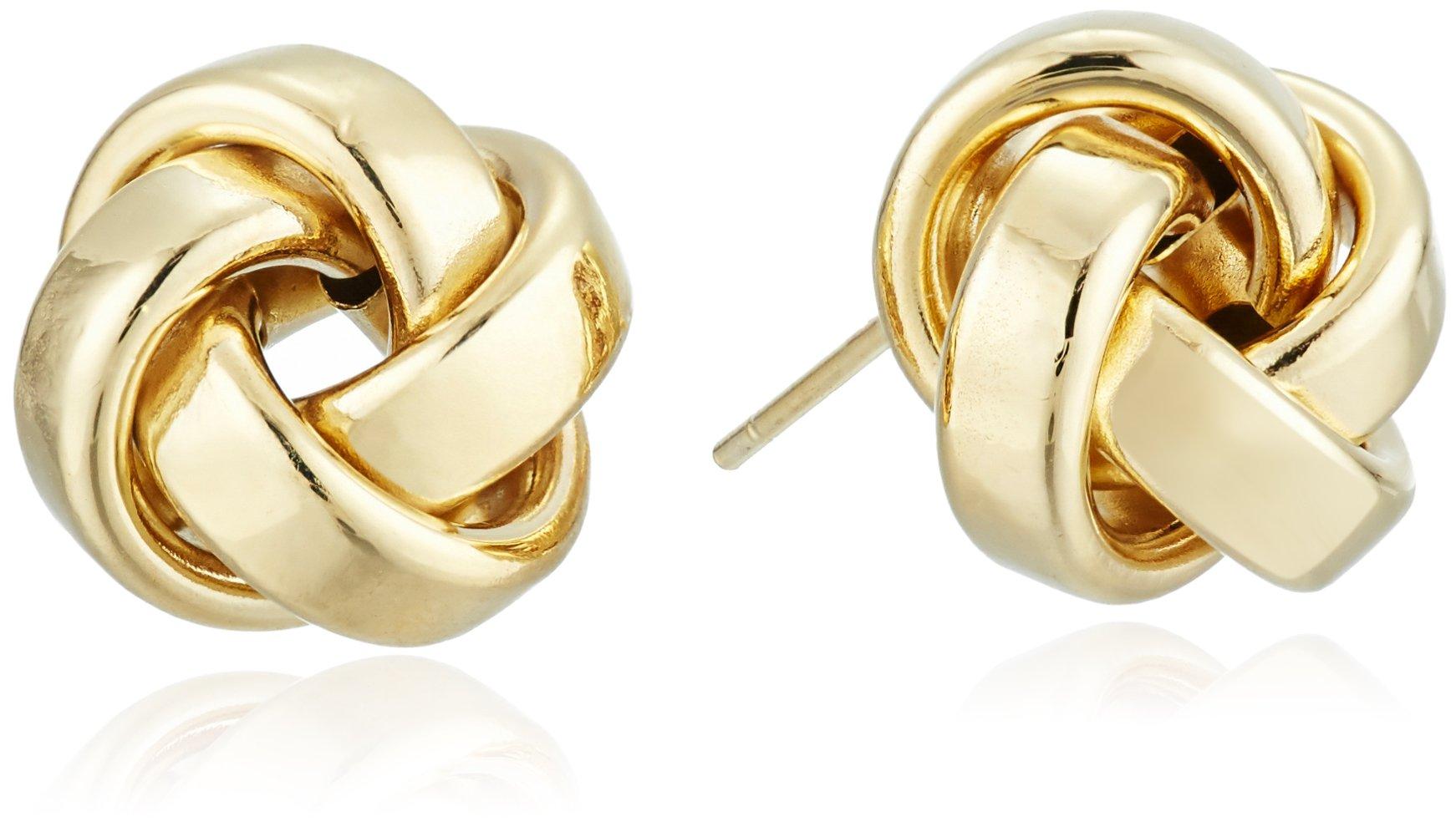 14k Yellow Gold Italian High Polished Love Knot Stud Earrings