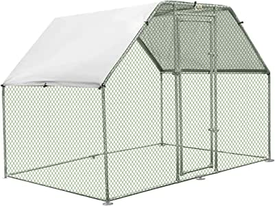 Large Metal Chicken Coop Walk-in Cage Run House Shade Pen Cover 1.9M x 2.8M