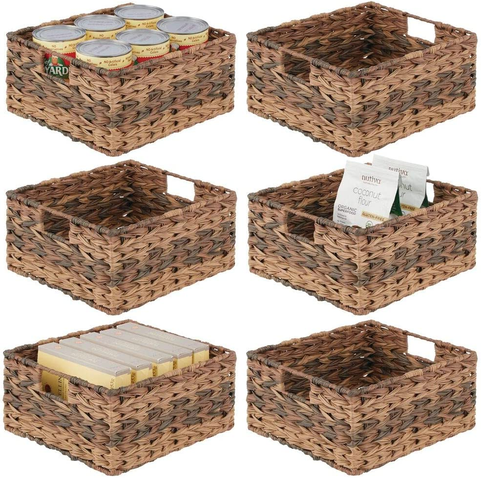 mDesign Woven Ombre Farmhouse Kitchen Pantry Food Storage Organizer Basket Bin - for Cabinets, Cupboards, Shelves, Countertops - Holds Potatoes, Onions, Fruit, 6 Pack - Brown Ombre