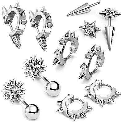 5eaab9d1b Amazon.com: Aroncent 10 PCS Stainless Steel Men Women Ear Stud Earring  Huggies Piercing Spike Rivet Cone Taper Silver: Jewelry