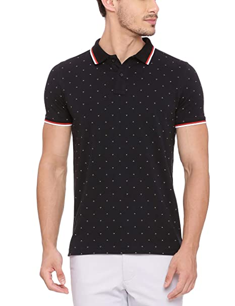 49c7639421 BASICS Muscle Fit Jet Black Printed Polo T Shirt  Amazon.in  Clothing    Accessories