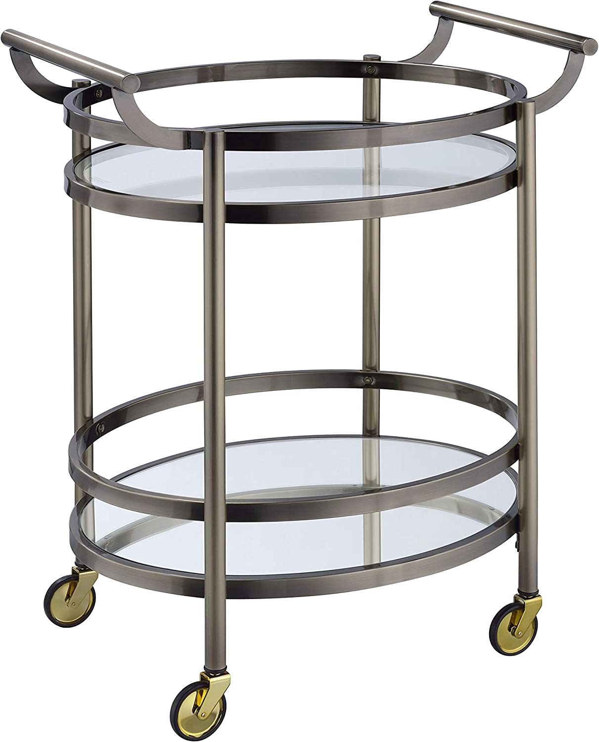 N-Voss 66AM98190 27 Serving Cart with 5mm Clear Tempered Glass Top Metal Frame and Handles in Brushed Bronze Finish Mirrored Bottom Shelf Oval Shape Caster Wheels
