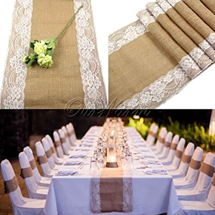 Amazon.com: 30x275cm Vintage Burlap Lace Hessian Table Runner ...