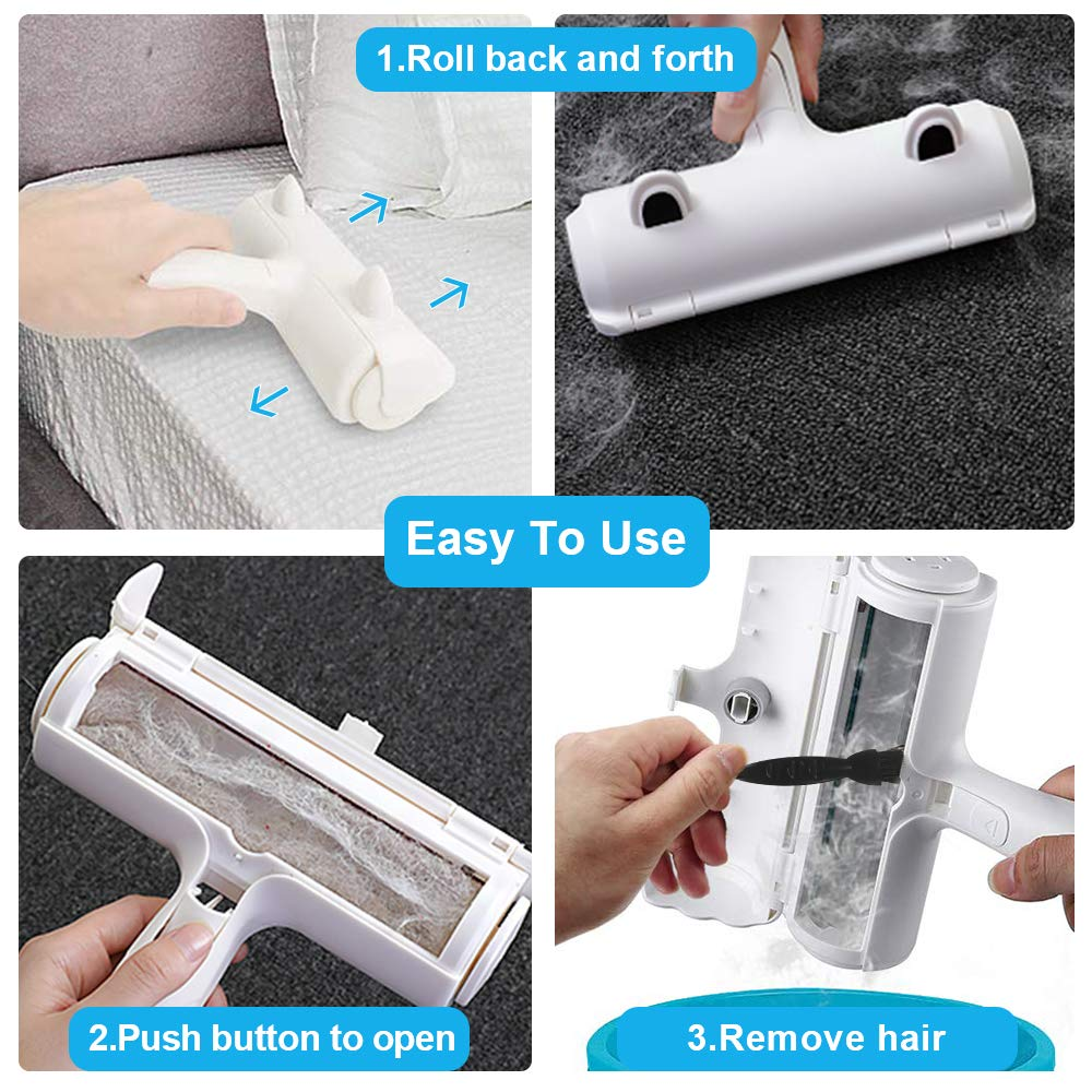 Lightweigh Perfect for Furniture with Self-Cleaning System Clothing and Bed Cleaning Sukeen Pet Hair Remover Roller,Link Rollers for pet Hair
