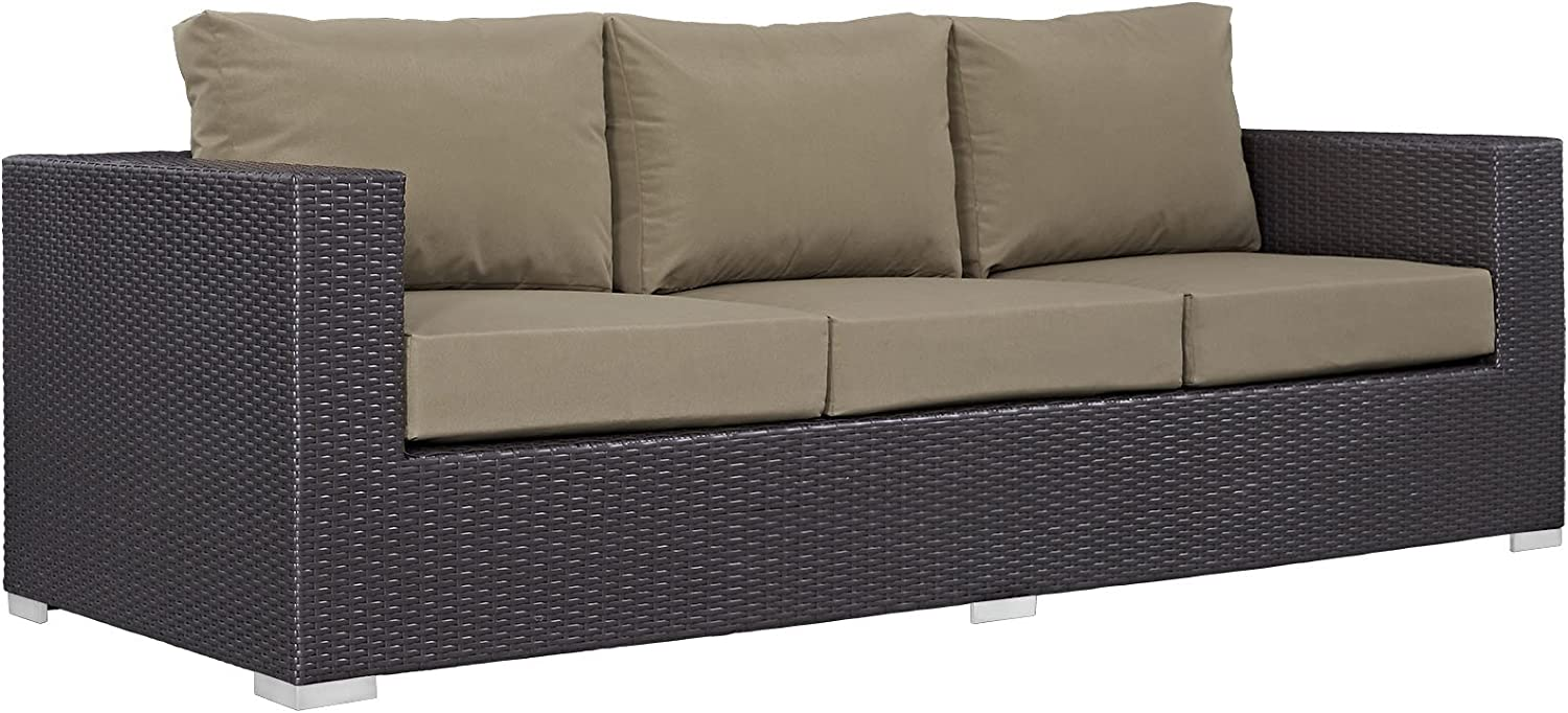 Modway Convene Wicker Rattan Outdoor Patio Sofa in Espresso Mocha