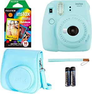 Fujifilm Instax Mini 9 - Ice Blue Instant Camera, 10 Prints Fujifilm Instax Rainbow Instant Mini Film, Fujifilm Instax Groovy Camera Case - Blue