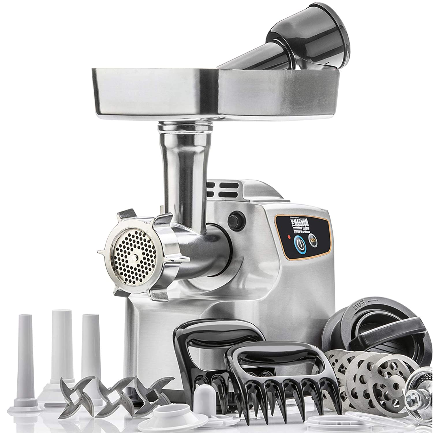 STX International Gen 2 -Platinum Edition Magnum 1800W Heavy Duty Electric Meat Grinder – 3 Lb High Capacity Meat Tray, 6 Grinding Plates, 3 S S Blades, 3 Sausage Tubes 1 Kubbe Maker Much More