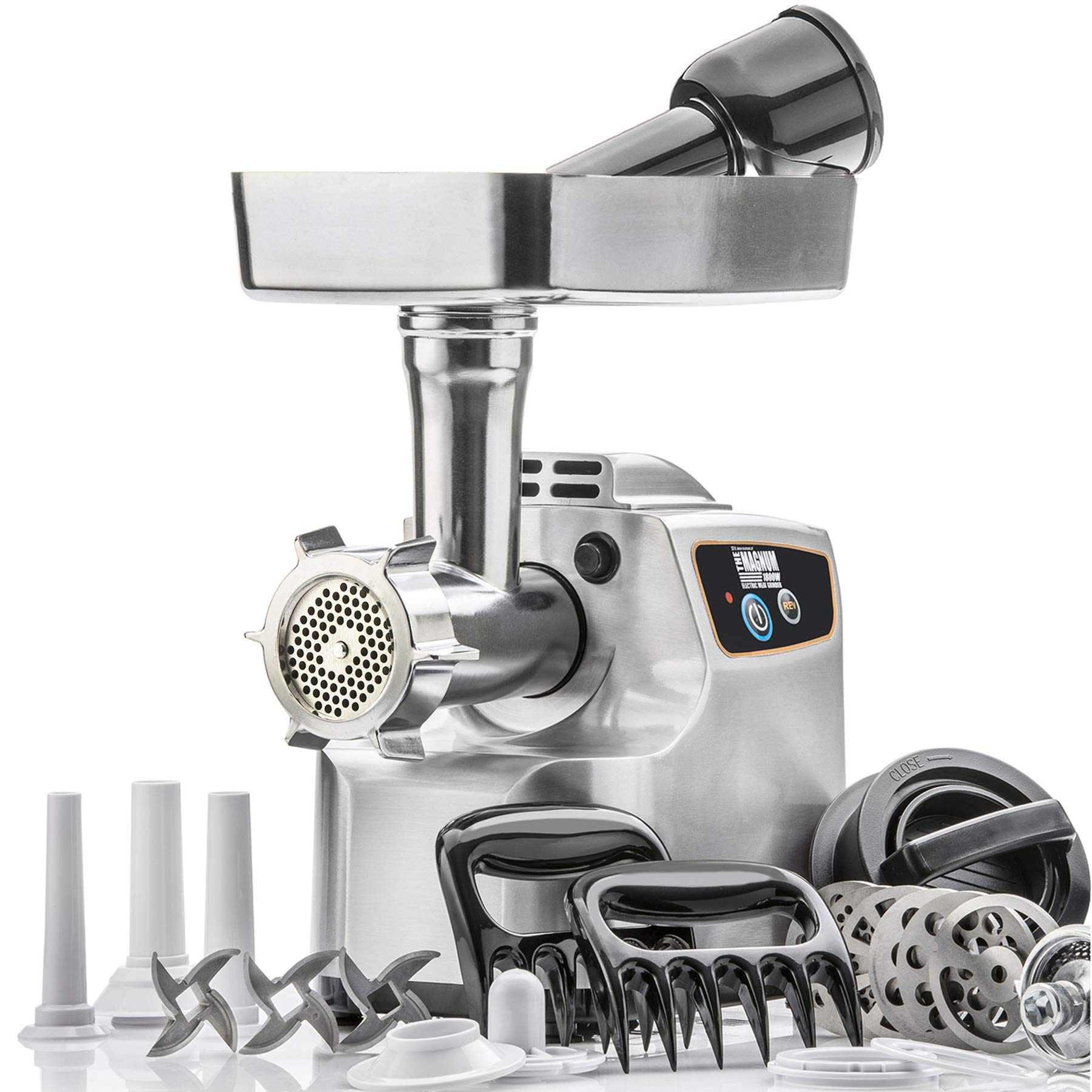 STX International ''Gen 2 - Platinum Edition'' Magnum 1800W Heavy Duty Electric Meat Grinder - High Capacity Meat Tray, 6 Grinding Plates, 3 S/S Blades, 3 Sausage Tubes, 1 Kubbe Maker and Much More by STX INTERNATIONAL