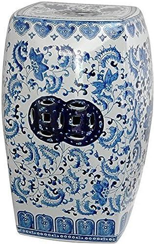 Oriental Furniture 18 Square Floral Blue White Porcelain Garden Stool