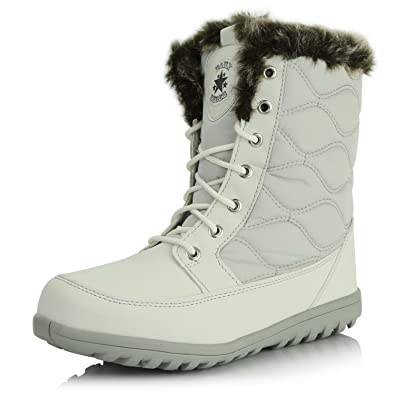 c55978298299d DailyShoes Women's Comfortable Round Toe Flat Ankle High Eskimo Winter Fur  Snow Boots, ...