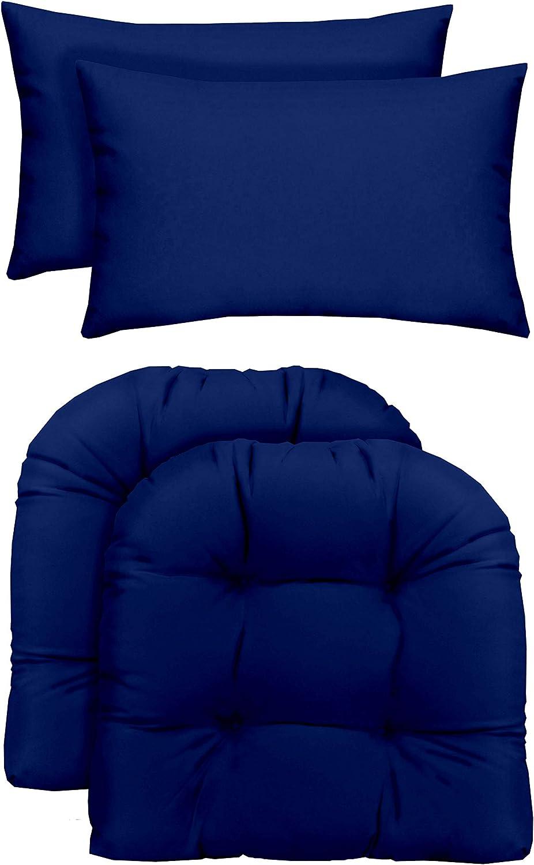 RSH Décor Indoor/Outdoor - 2 U-Shape Wicker Chair Cushions & Lumbar / Throw Pillows (2 (19